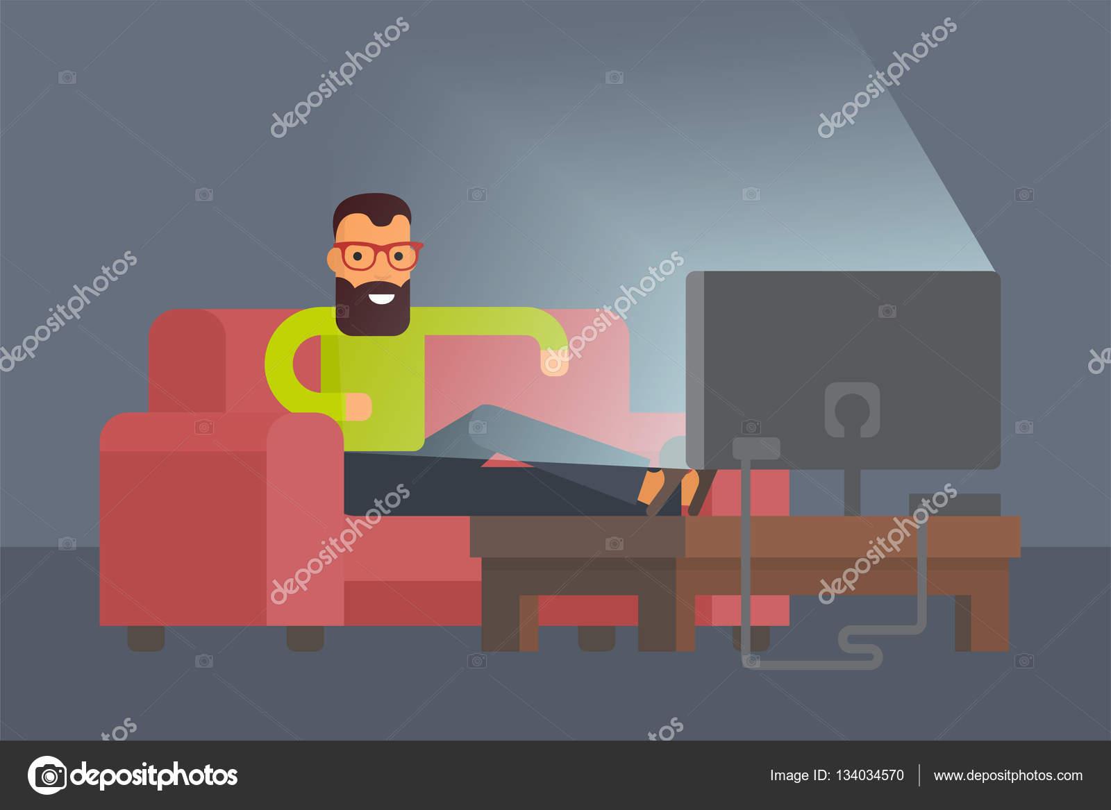 Man Sitting On Sofa Watching Tv At Home. Flat Design Vector Character  Illustration. U2014