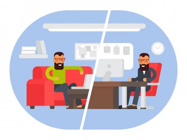 Freelancer vs business office. Comparing remote work with freelance working place. Flat design vector illustration.