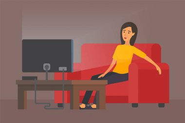 Tired woman in front of TV
