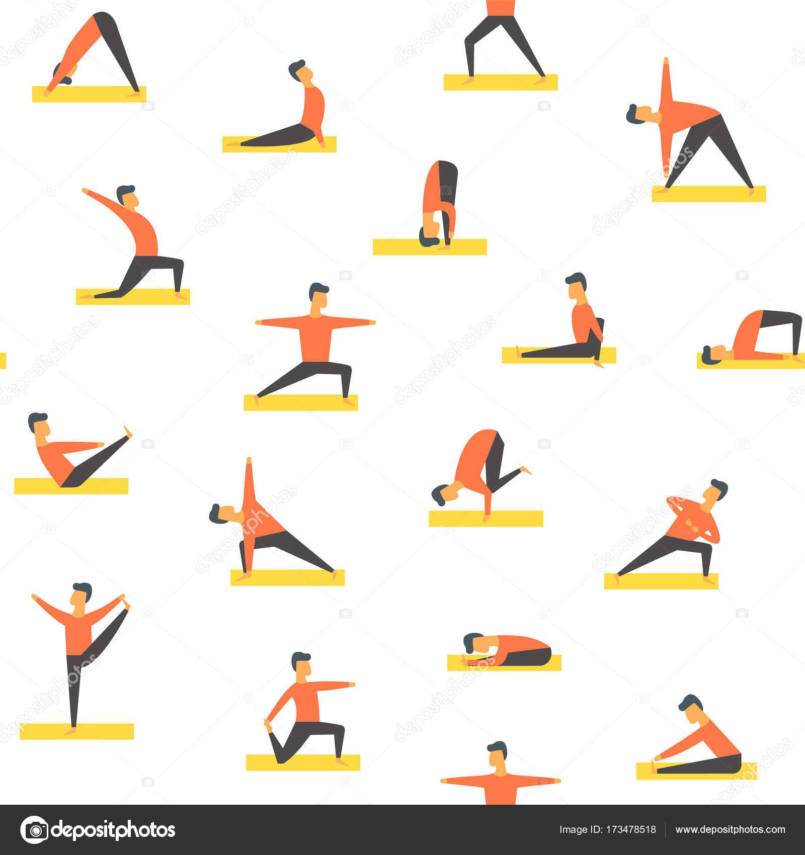 Yoga plantea asamas patrón. Aptitud de la gente de vector — Archivo ...