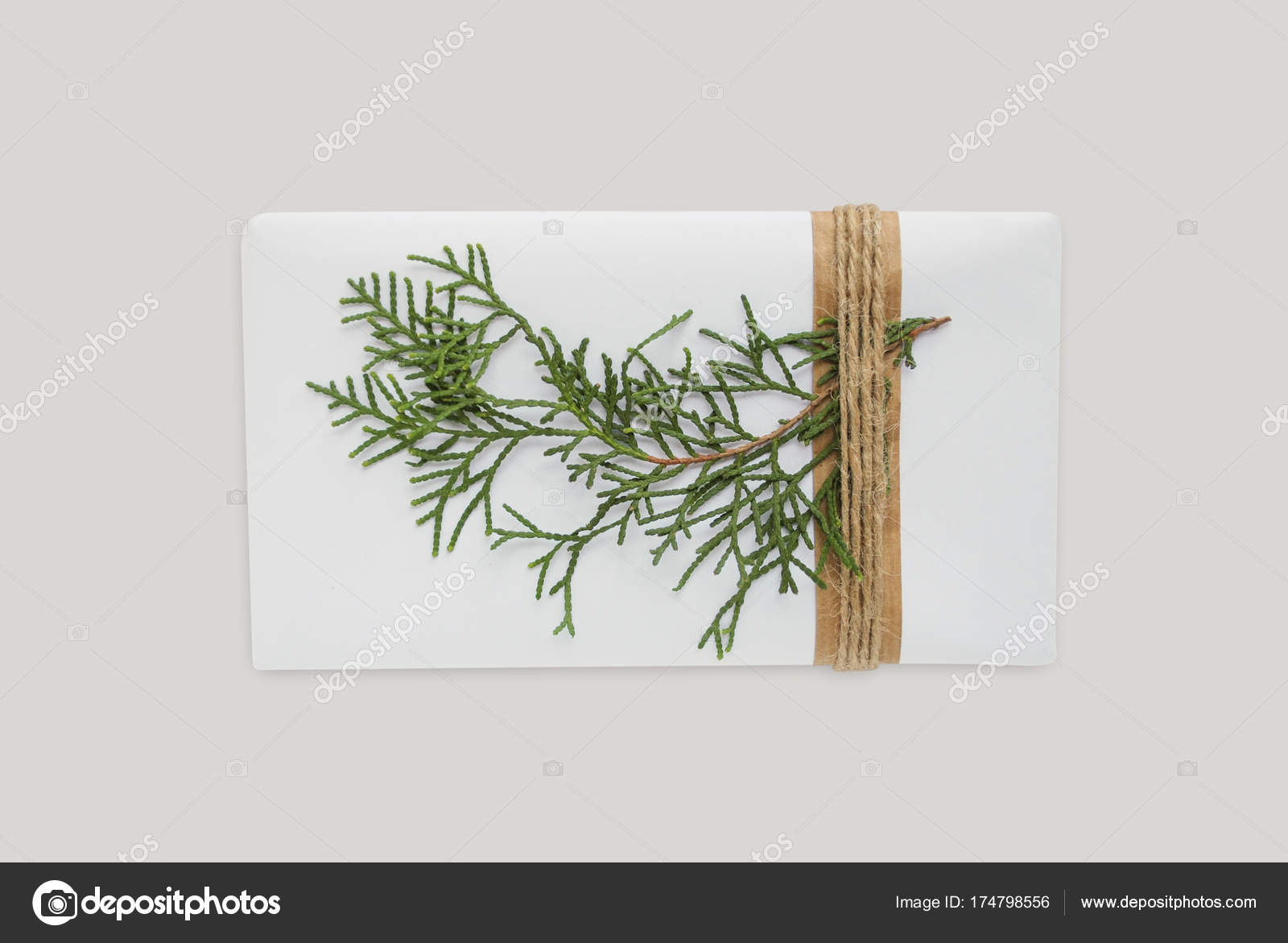 Box template with christmas tree. Decoration wrapped gift with rope ...