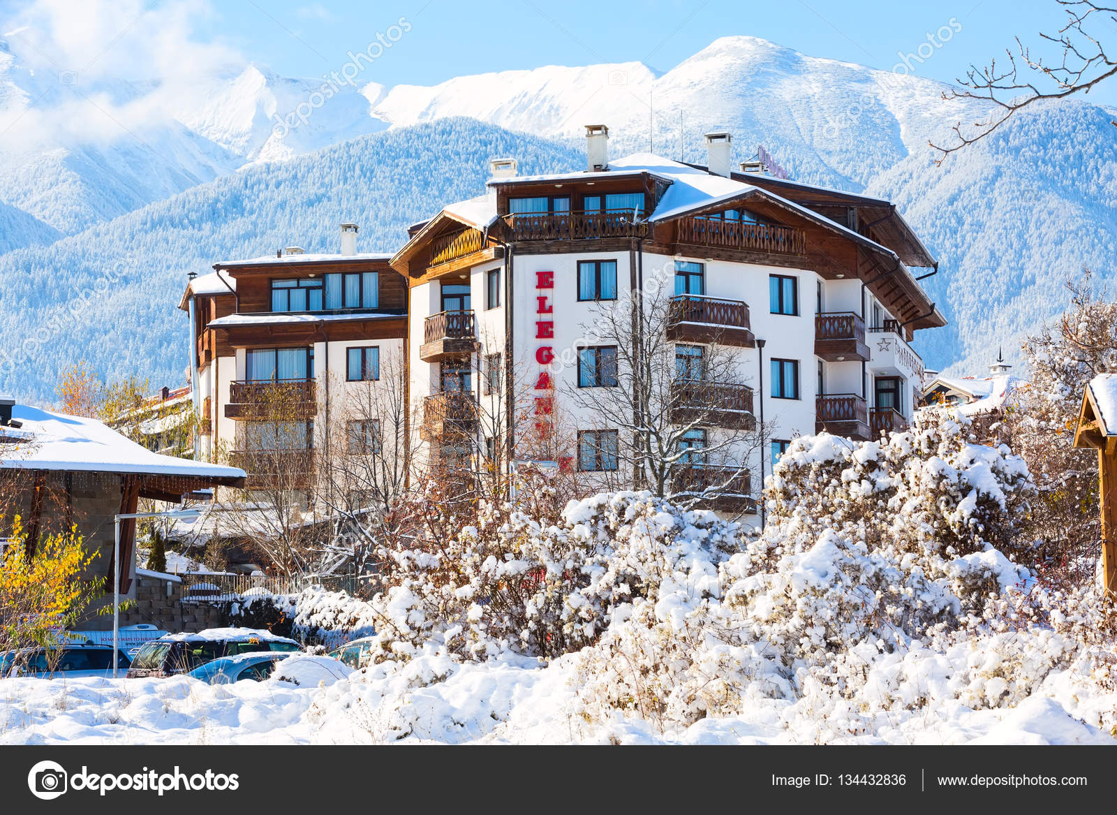 elegant lux hotel and snow mountains panorama in bulgarian ski
