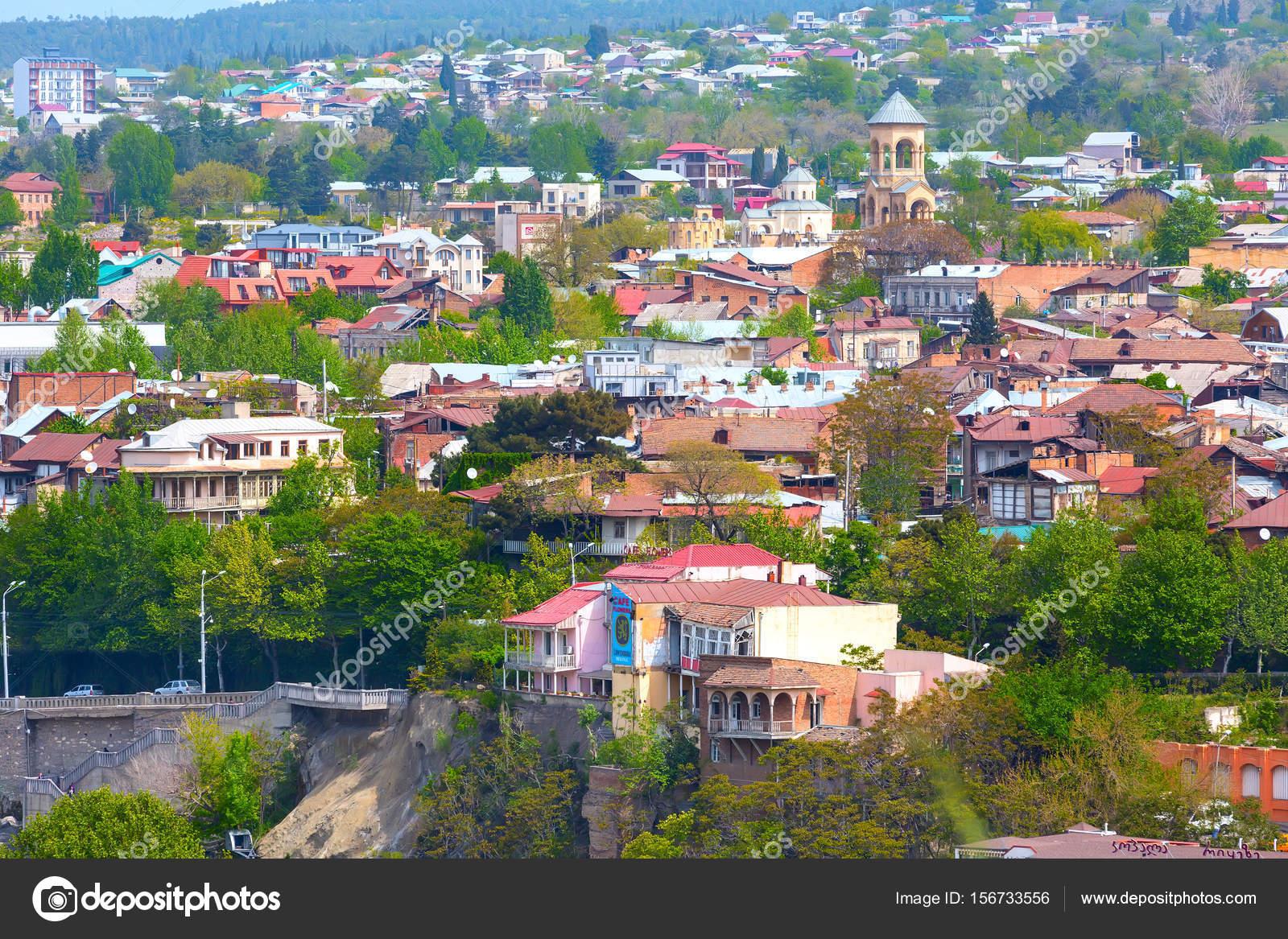 Tiflis (Tbilissi), Georgien aerial Skyline Blick mit alten ...