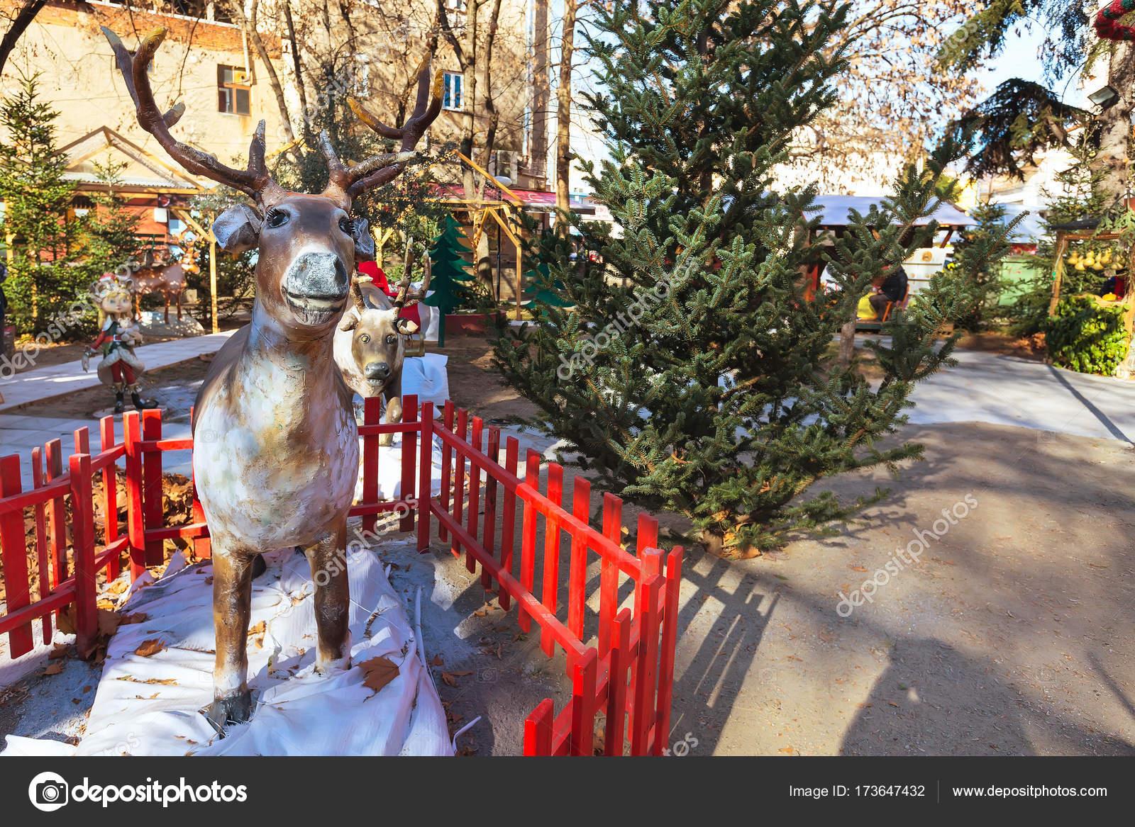 Greek Christmas.Deer Decoration Figurine At Greek Christmas Market Stock
