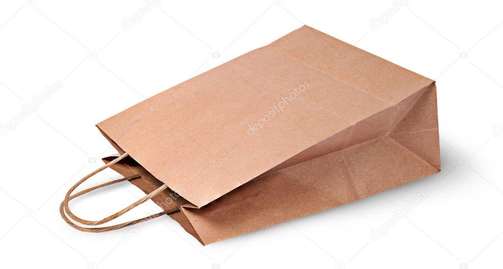De Papieren Zak : Lege open bruine papieren zak voor de menselijke voeding liggen