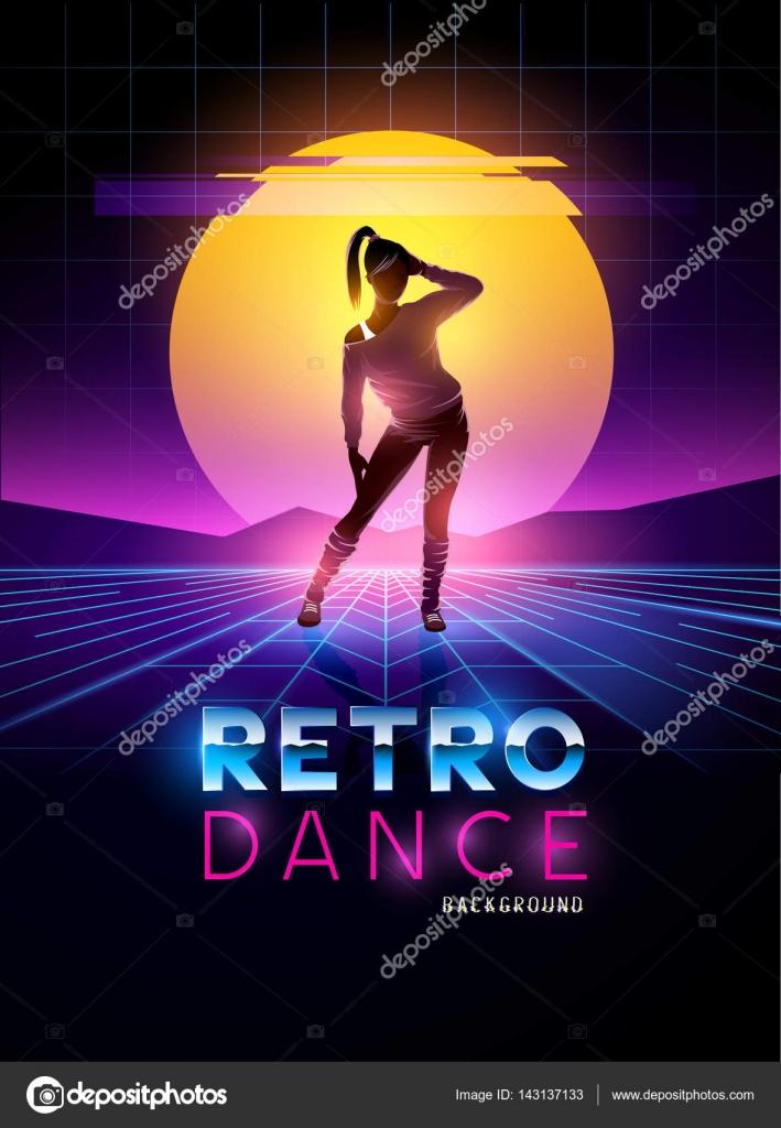 Señora bailando retro años 80 con fondo puesta de sol de glitch ...