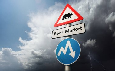 Financial Stock Market Downturn. A bear market global recession with warning markings on road signs. 3D illustration concept.