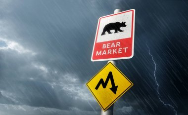Warning road signs of a coming stock market crash, expecting a bumpy ride. Bear market 3D illustration concept.