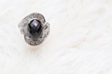 jasper black gemstone on diamond ring