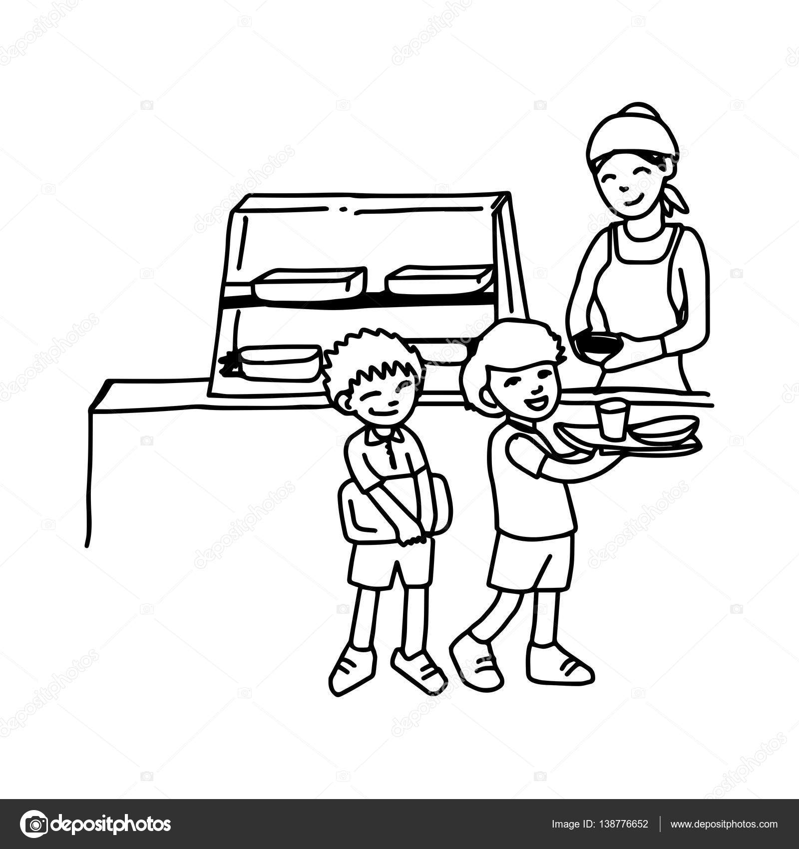 illustration vector hand drawn doodle of canteen with two boys