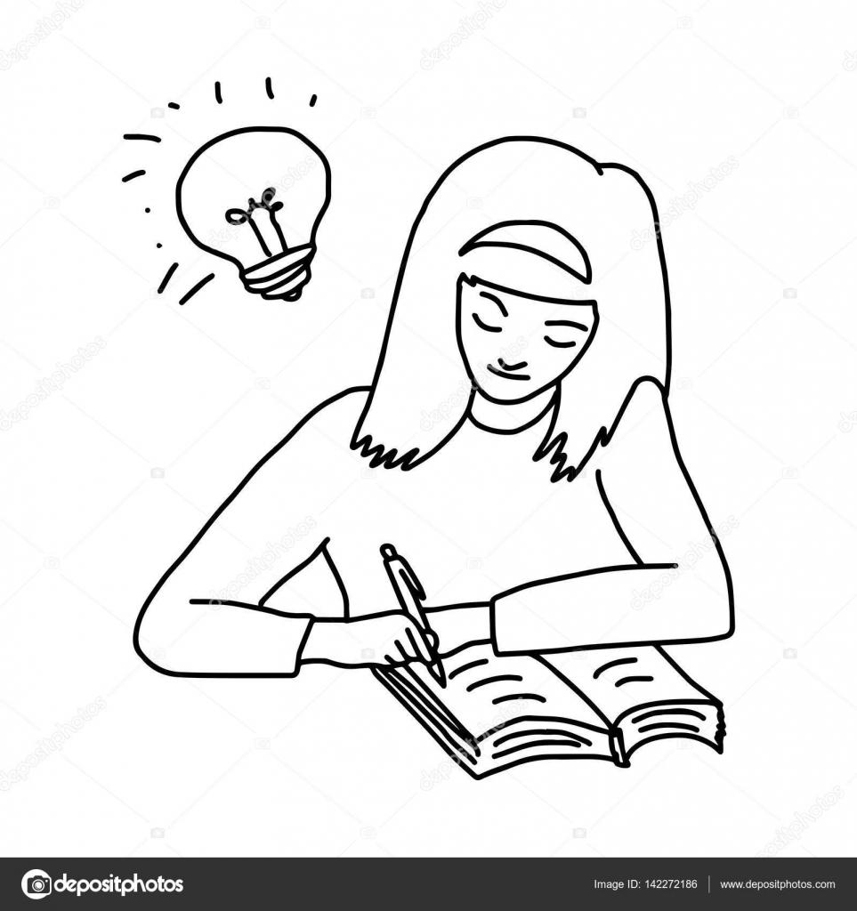 Schreibtisch gezeichnet  Mädchen Hausaufgaben machen, mit einem Buch auf dem Schreibtisch ...