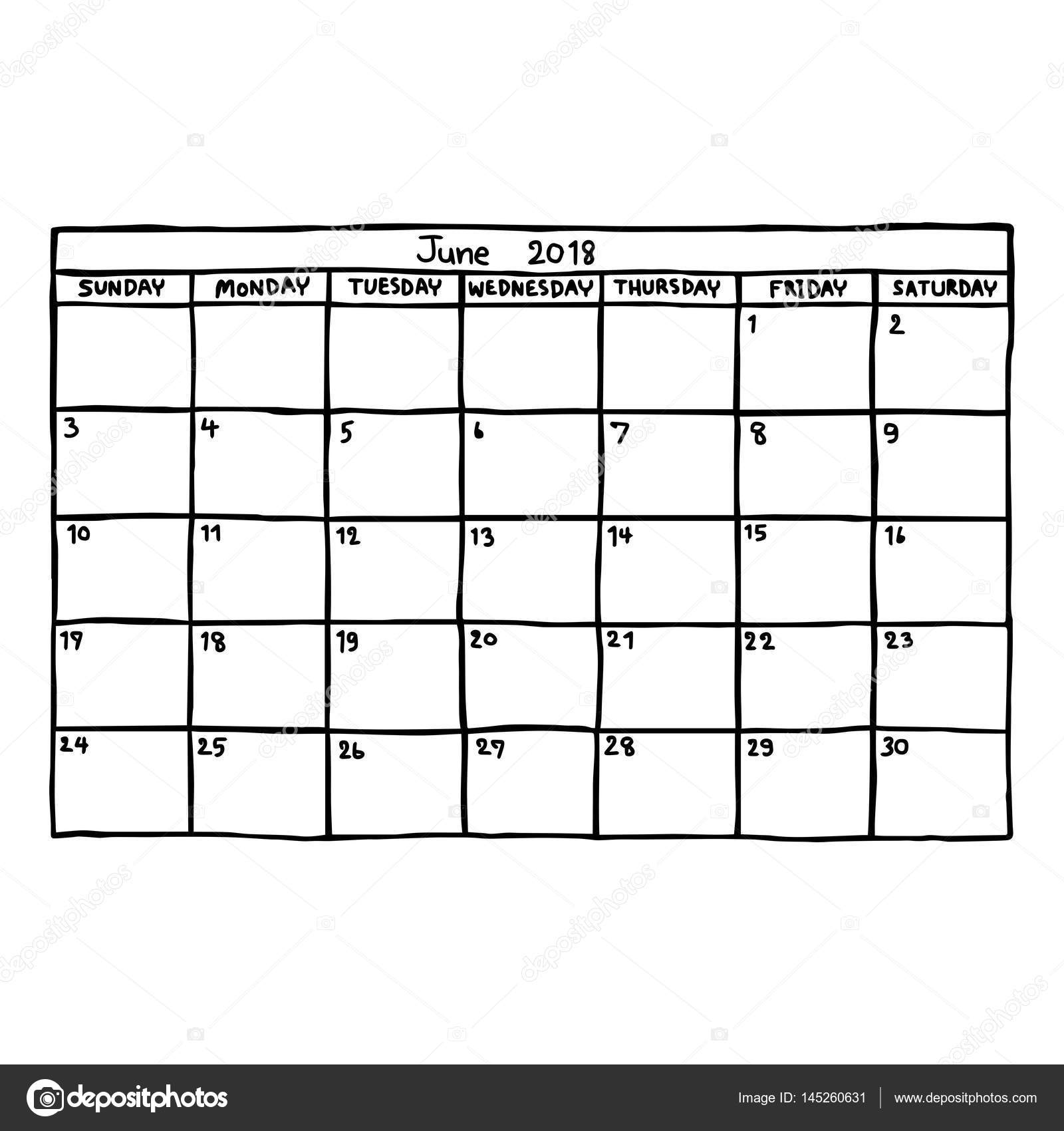 Kalender Juni 2018 - Vektor-Illustration Skizze handgezeichnete mit ...