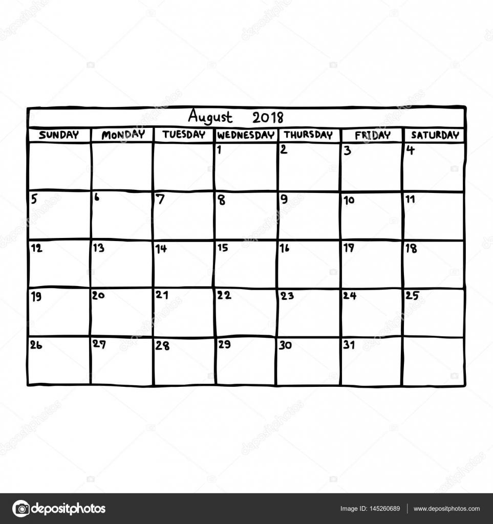 Kalender August 2018 - Vektor-Illustration Skizze handgezeichnete ...