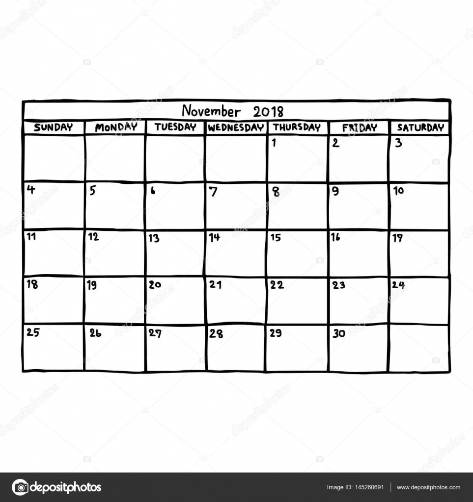 Kalender November 2018 - Vektor-Illustration Skizze handgezeichnete ...