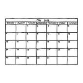 Fotografia calendario maggio 2018 - illustrazione vettoriale di schizzo disegnato a mano con linee nere, isolati su priorità bassa bianca
