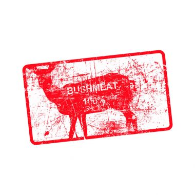 red grunge dirty rubber stamp with a deer silhouette and word BU