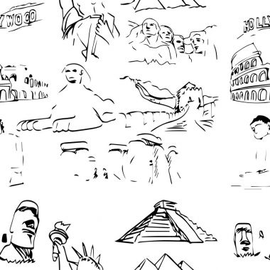 famous global landmark set seamless pattern design - vector illustration sketch hand drawn with black lines, isolated on white background