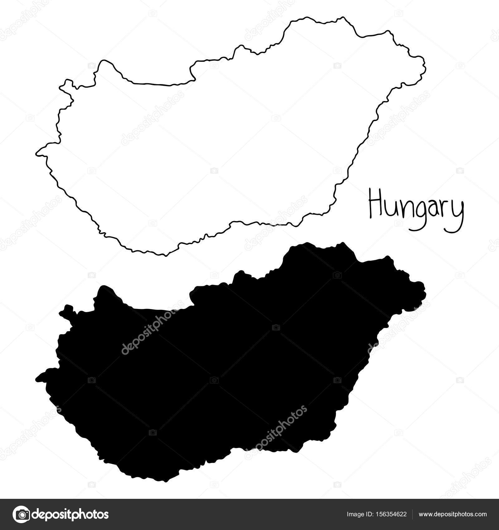 Outline And Silhouette Map Of Hungary Vector Illustration Hand