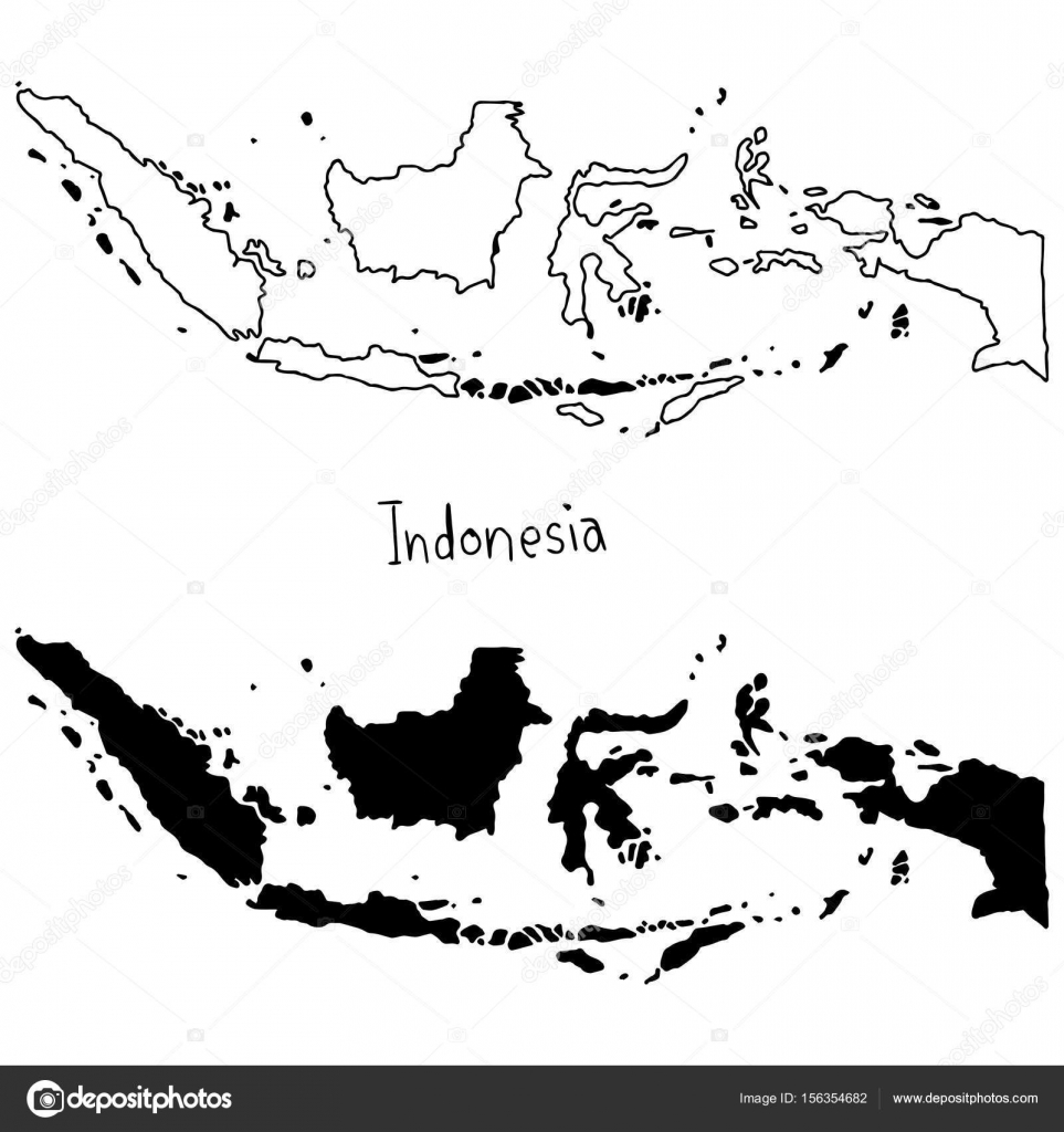 outline and silhouette map of Indonesia vector illustration hand