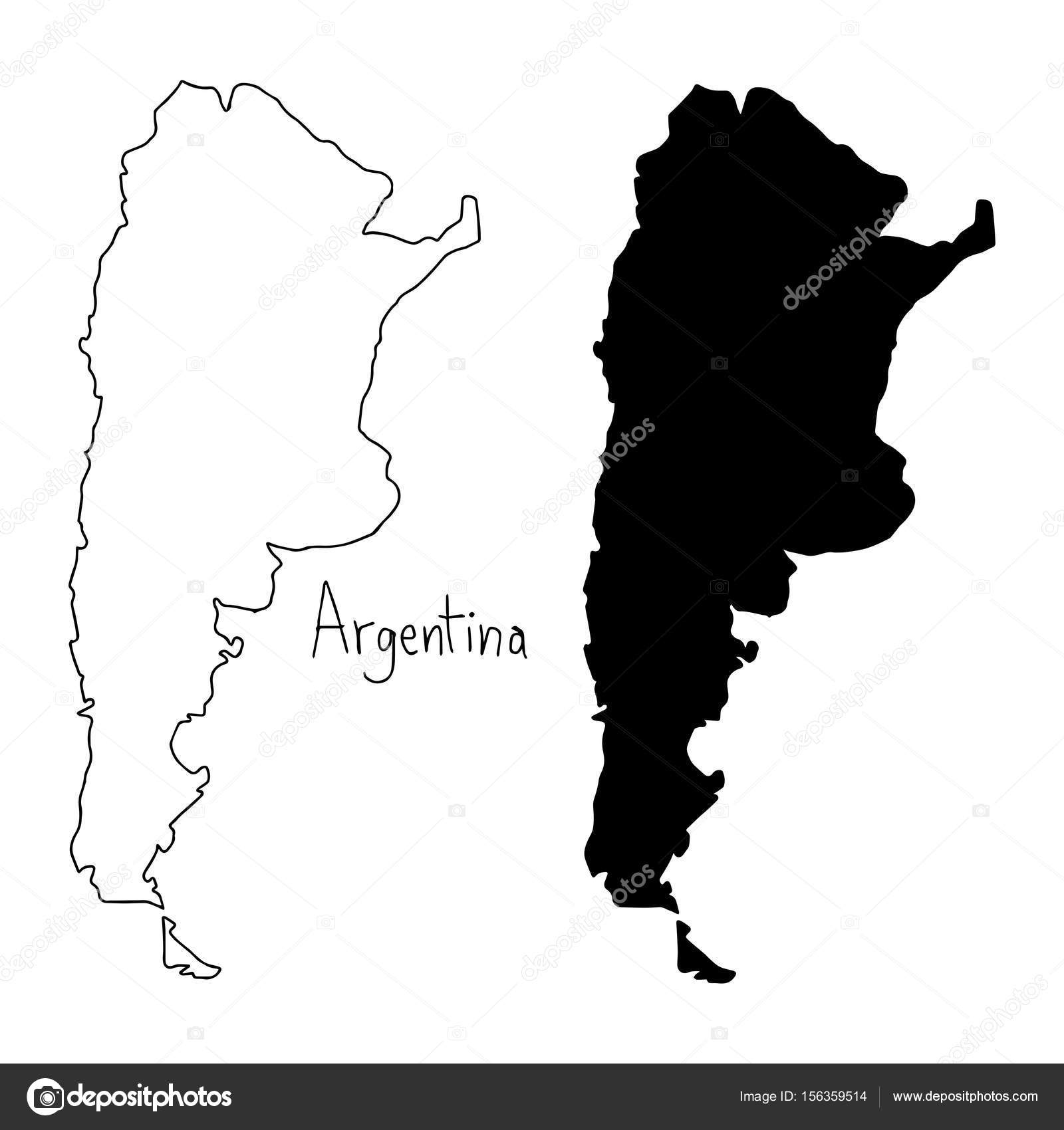 Outline And Silhouette Map Of Argentina Vector Illustration Hand - Argentina map black and white