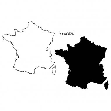 outline and silhouette map of France - vector illustration hand drawn with black lines, isolated on white background