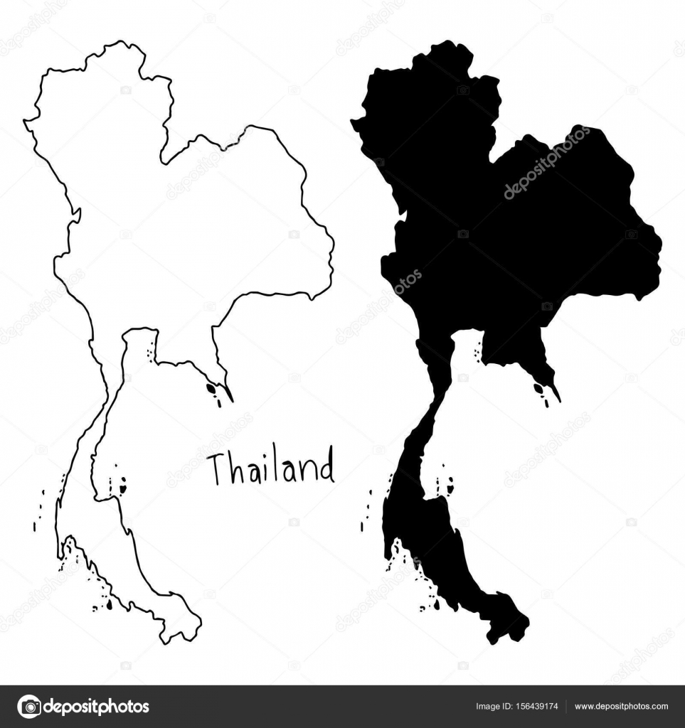 Outline and silhouette map of thailand vector illustration hand outline and silhouette map of thailand vector illustration hand drawn with black lines isolated gumiabroncs Images
