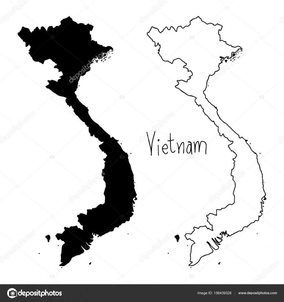 Outline And Silhouette Map Of Vietnam Vector Illustration Hand - Vietnam map outline