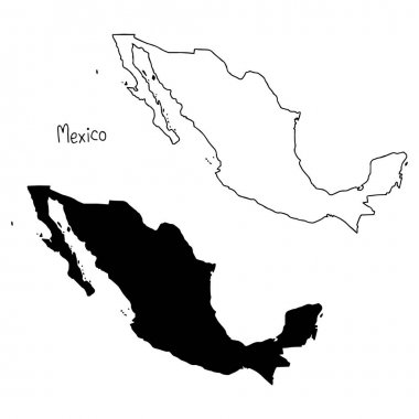 outline and silhouette map of Mexico - vector illustration hand drawn with black lines, isolated on white background