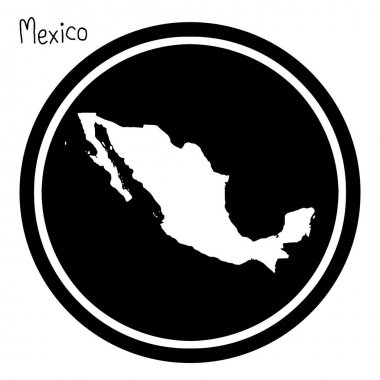 vector illustration white map of Mexico on black circle, isolated on white background