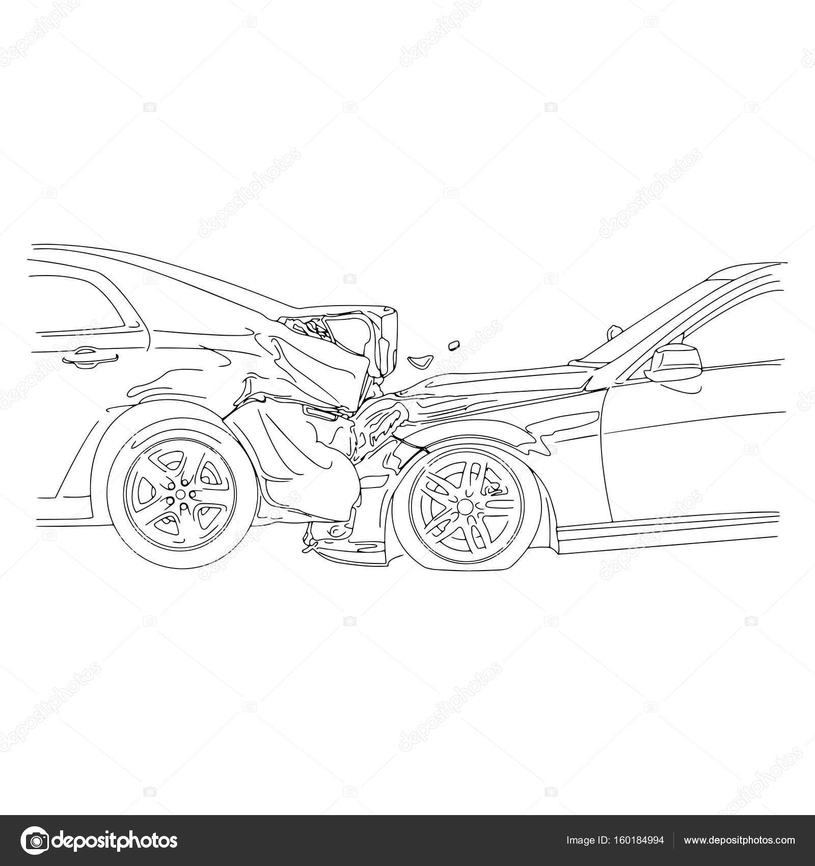 Auto accident involving two cars - vector illustration outline ...
