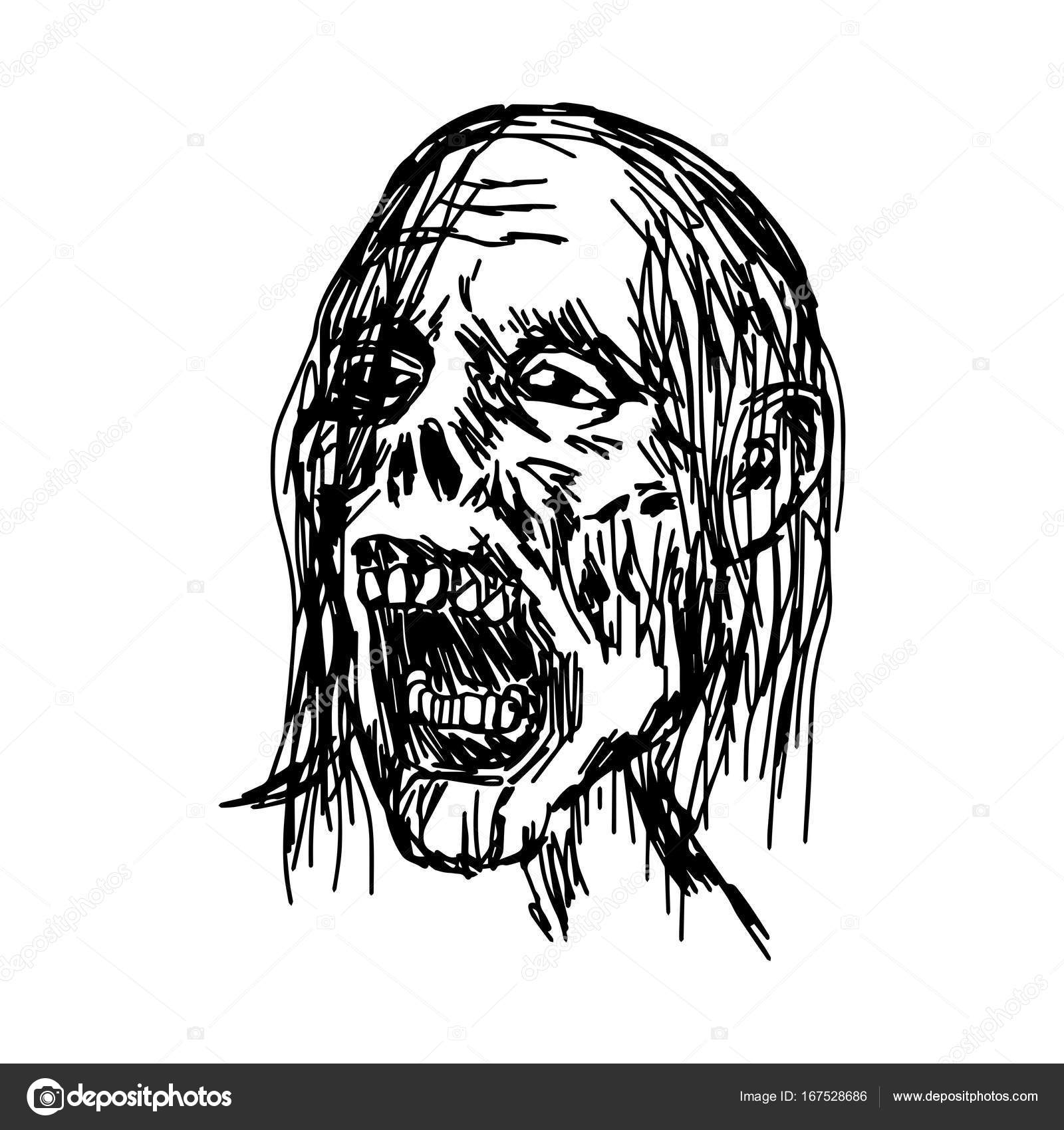 zombie head vector illustration sketch hand drawn with black lines ...