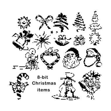 Black 8-bit Christmas items vector illustration  isolated on white background