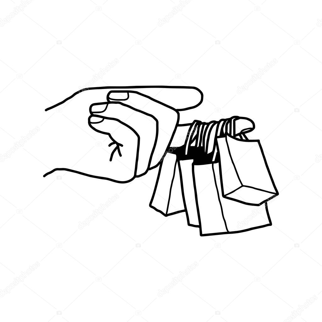 hand holding small blank shopping bags vector illustration sketch hand drawn with black lines, isolated on white background