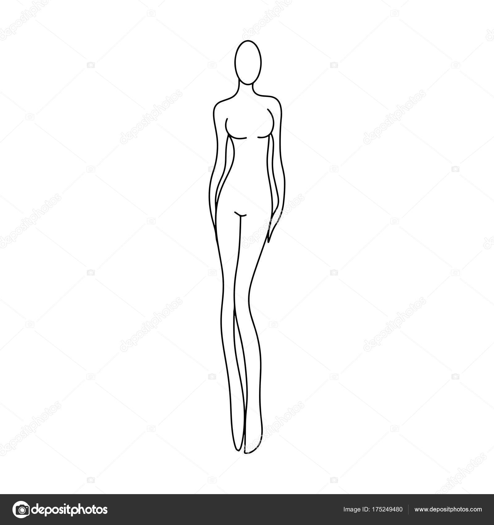 outline girl model template for fashion women figure sketching for ...