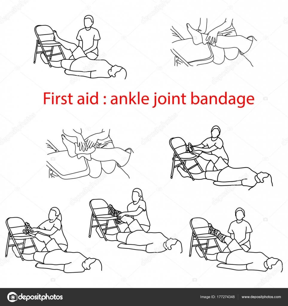 vendaje de primeros auxilios en caso de lesiones del tobillo vector ...