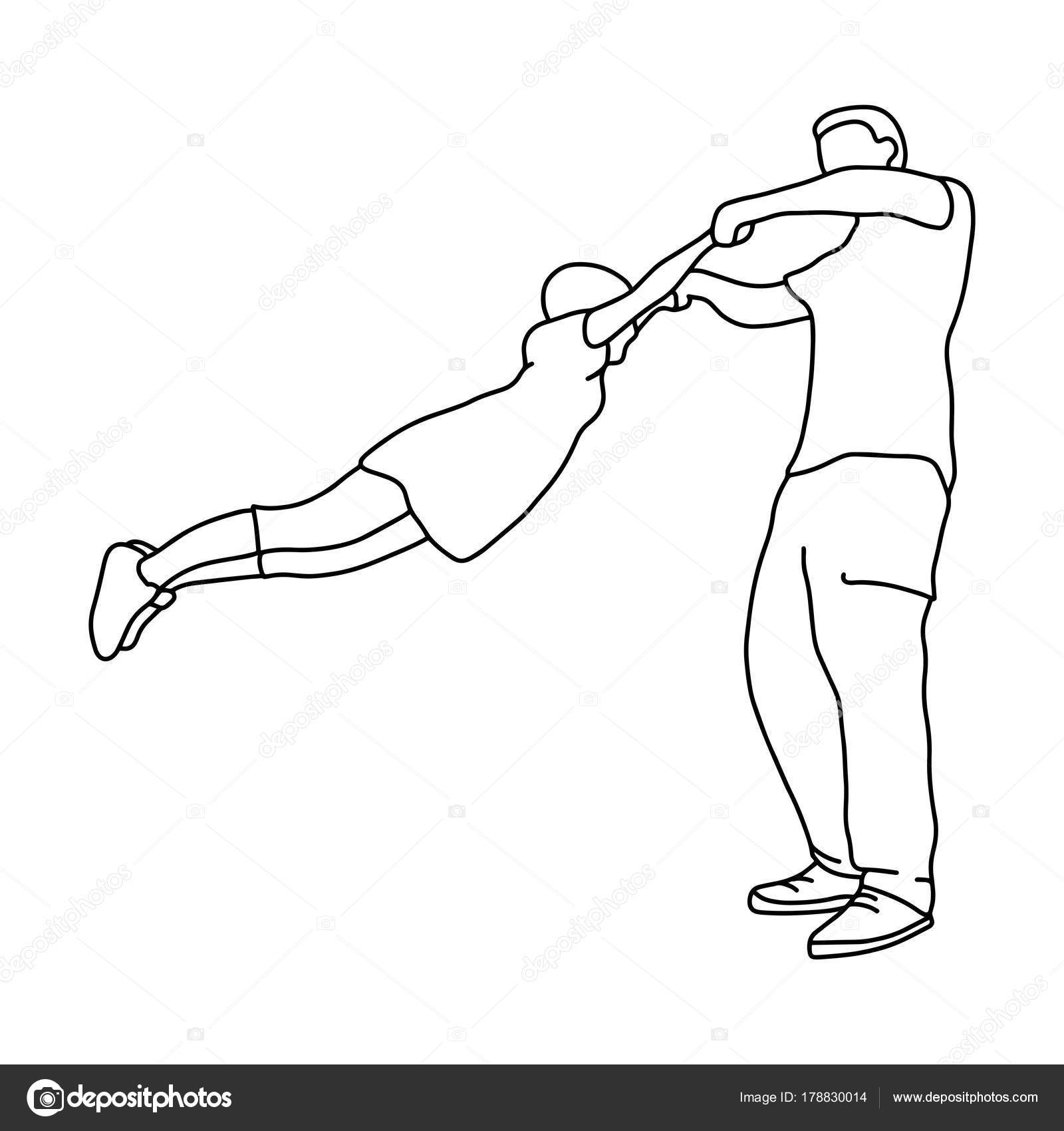 Father holding daughter in hands and rolling around vector illustration outline sketch hand drawn with black
