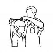 männlicher Arzt misst die aktuelle Körpergröße seines jungen männlichen Patienten mit Gerätevektorillustration Skizze mit schwarzen Linien, isoliert auf weißem Hintergrund