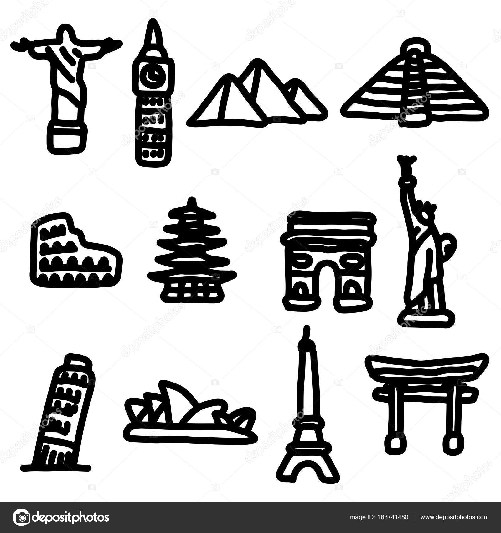 Travel Landmarks Around The World Icon Set Vector Illustration Sketch Hand Drawn With Big Black Lines Isolated On White Background By A3701027d
