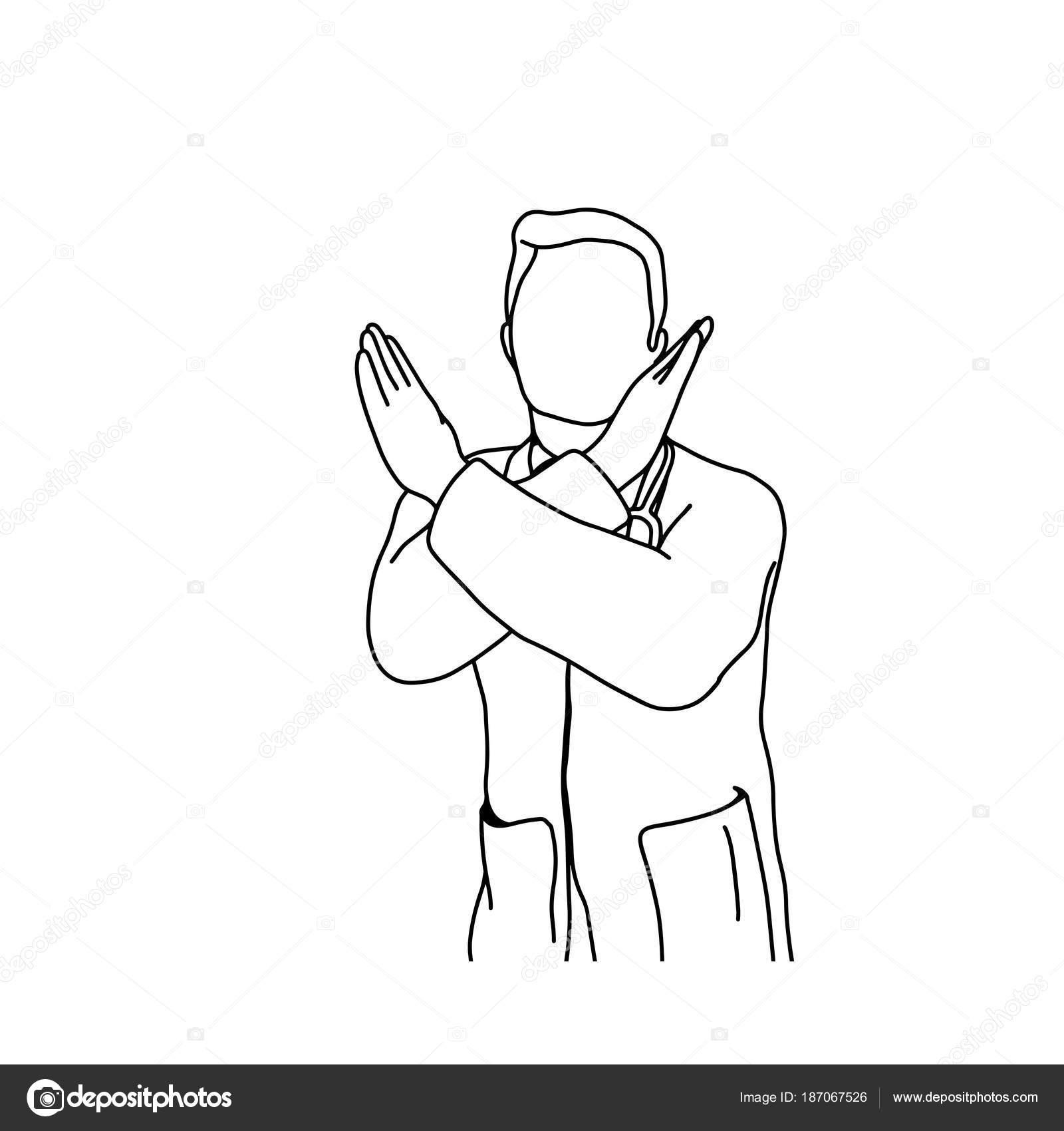 doctor masculino con señal de stop con la mano cruzada vector ...