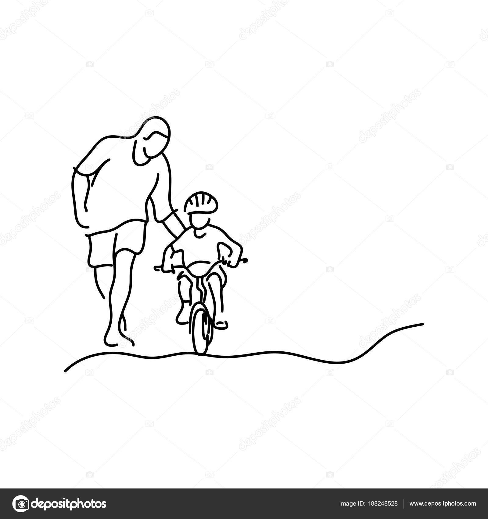 minimalista padre enseñando a su hija con casco de seguridad para ...