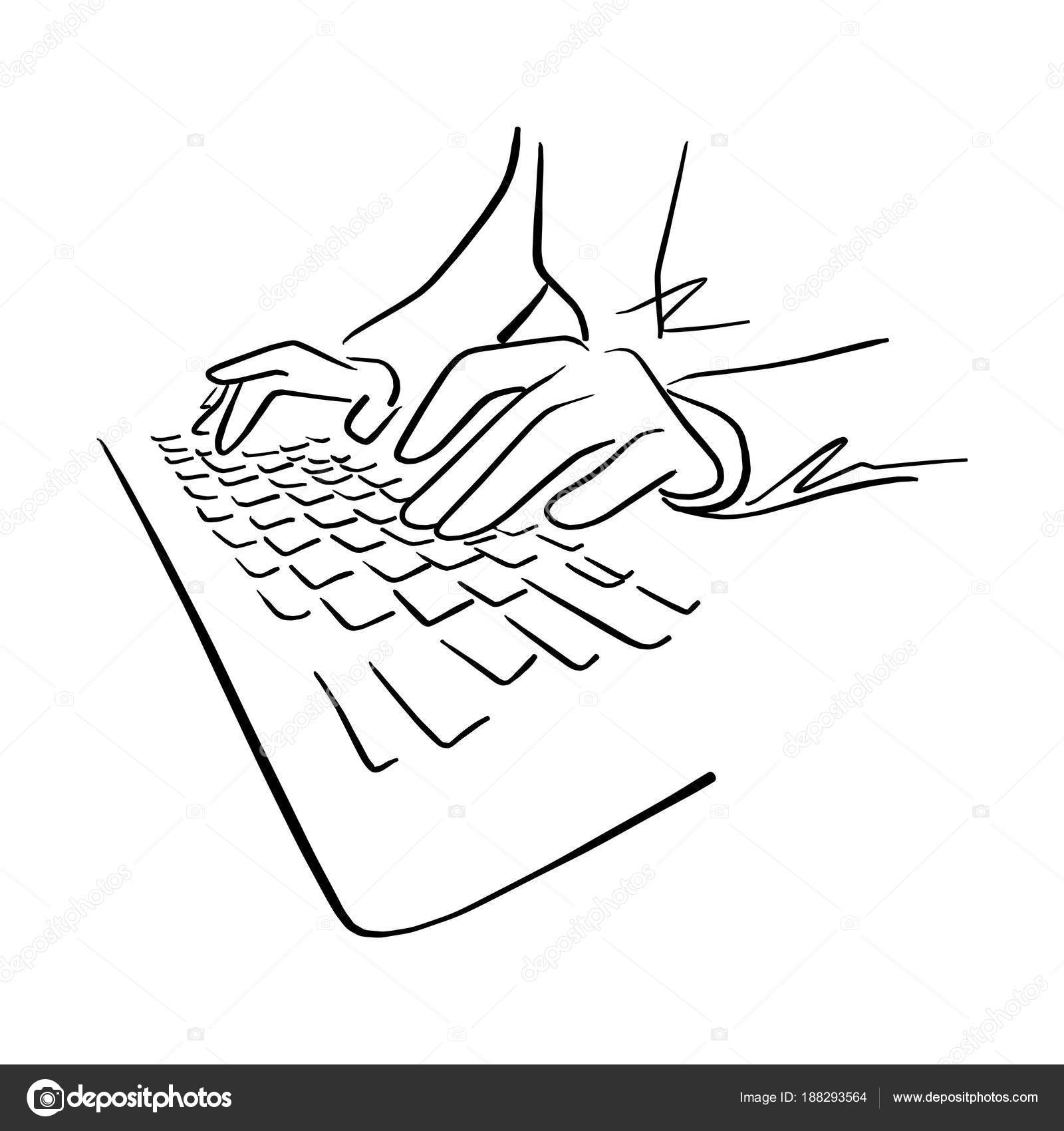 Hand Using Keyboard Of Computer Vector Illustration Sketch Hand Drawn With Black Lines Isolated On White Background Stock Vector C A3701027d 188293564