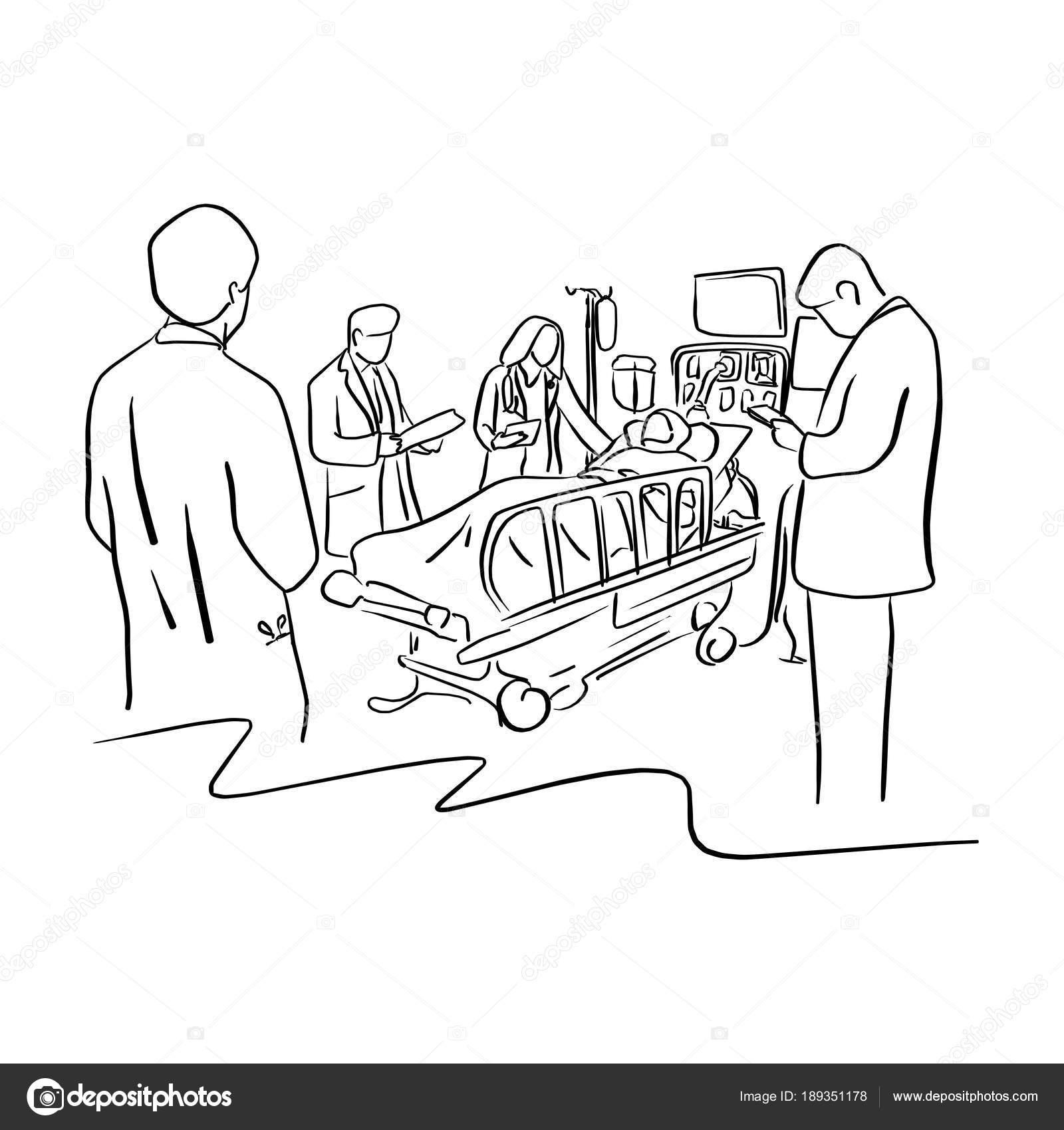 Dibujos Enfermo En Cama Para Colorear Cuatro Médicos