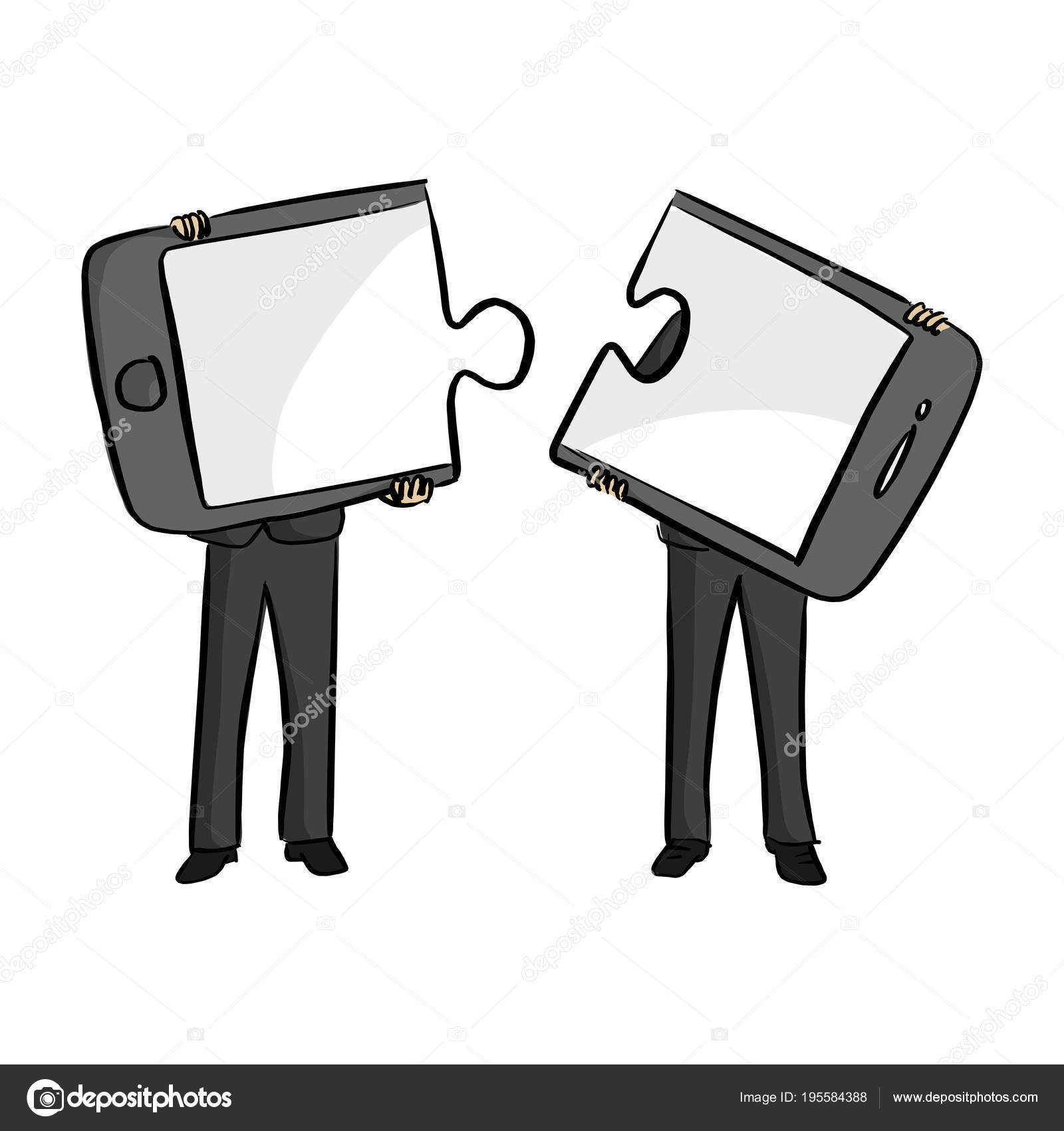 e7b98c8d51c49 Two businessmen connecting mobile phone puzzle elements vector illustration  sketch doodle hand drawn with black lines isolated on white background —  Vector ...