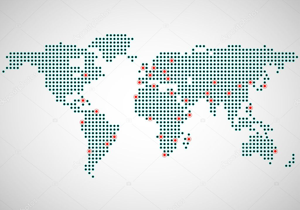 Abstract world map of dots capitals countries stock vector abstract world map of dots capitals countries stock vector gumiabroncs Images
