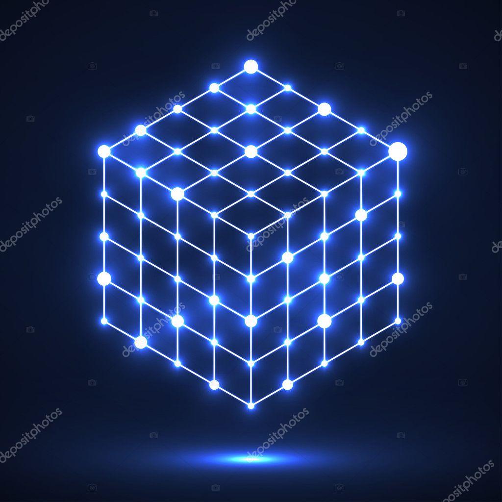 Würfel der Striche und Punkte, Molekulare Gitter, geometrische Form ...