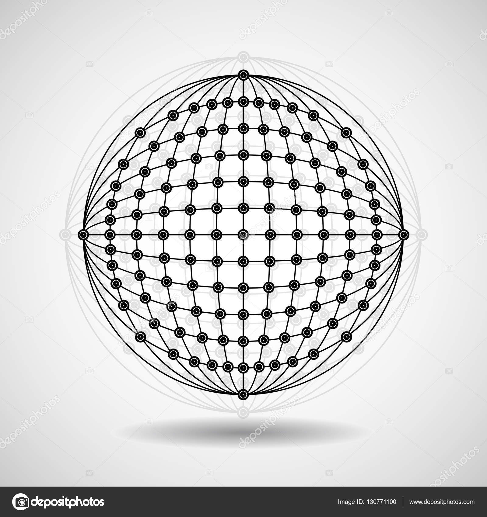 Abstract geometric shape of dots and lines, network connection ...