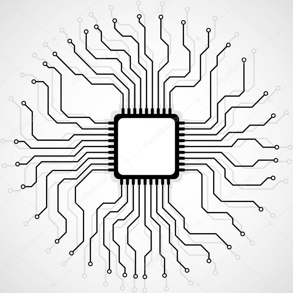 Cpu abstraite. Microprocesseur. Microchip. Circuit imprimé. Vector ...