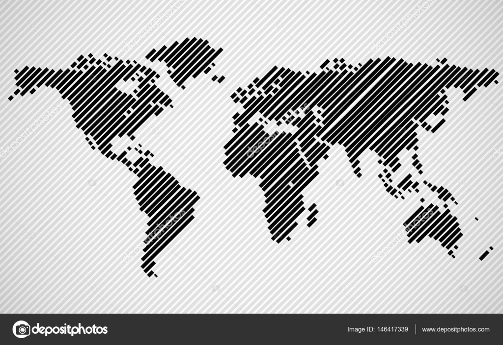 Abstract world map with lines world stripes map vector stock abstract world map with lines world stripes map vector stock vector gumiabroncs Choice Image
