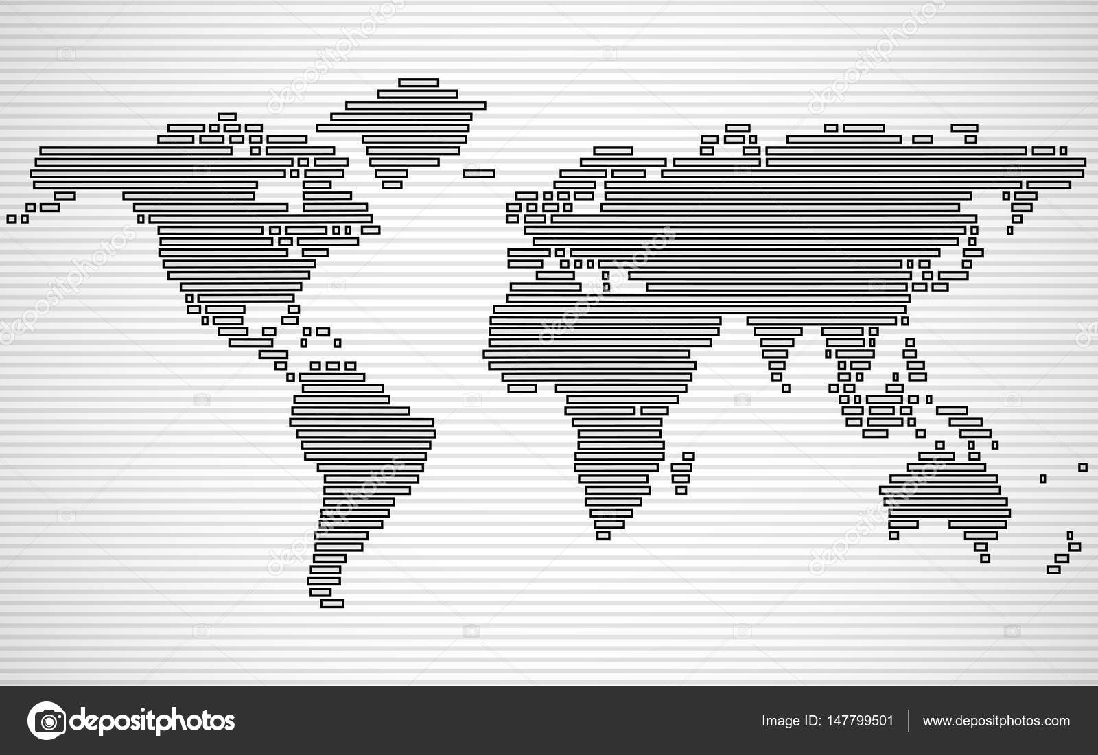 Abstract World Map With Lines World Stripes Map Vector Stock