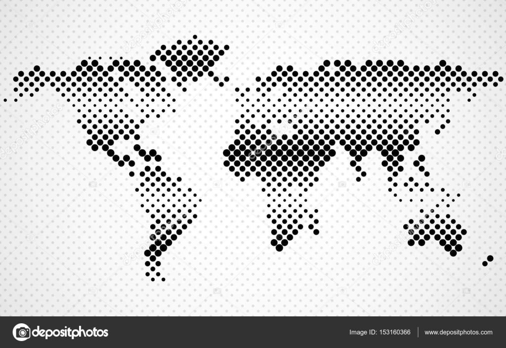Abstract halftone world map. Dotted map. Vector — Stock Vector ...